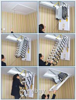 Wall Mounted Folding Ladder Loft Stairs Black Heavy Duty Steel Metal US
