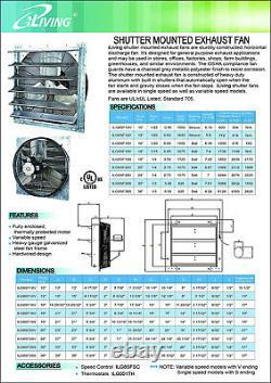 Wall Mounted Shutter Exhaust Fan 12 Variable Speed Galvanized Steel Heavy Duty