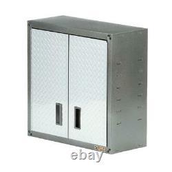 28 Dans Garage Wall Cabinet Tool Box Storage Organizer Silver Tread Heavy Duty New