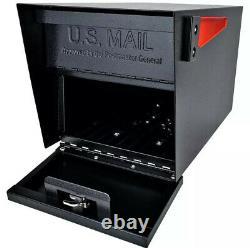 Black Steel Anti Theft Post Mount Verrouillage Boîte Aux Lettres Résistant Aux Intempéries Heavy Duty