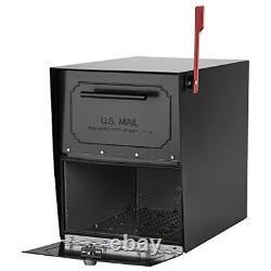 Colis Boîte Aux Lettres Post Mount Security Verrouillage Noir Heavy Duty Galvanized Steel