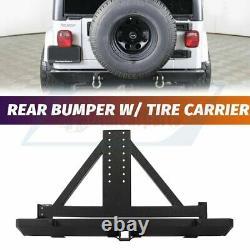 Convient Pour 87-06 Jeep Wrangler Tj Yj Bumper Arrière Avec Porte Pneus Et Texture Treuil