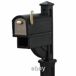Grande Boîte Aux Lettres Rurale Post Mount Pedestal Heavy Duty Rain Overhang Mail Box Black