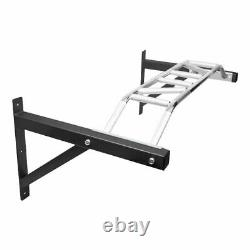Haut De Gamme Pull Up Bar 1.2m Large Multi Grip Wall Mounted Chin Chinning Noir