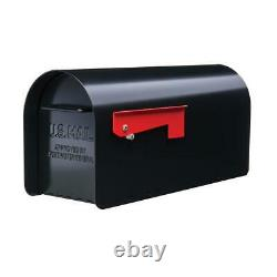 Ironside Post Mount Mailbox Black Magnetic Latch Heavy Duty Galvanized Steel