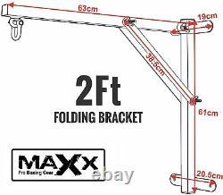 Maxx Heavy Duty 2ft Folding Punch Bag Wall Bracket Steel Mount Hanging Boxing Ba