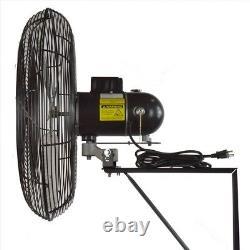 Oscillant Wall Mount Fan 24 Po. 2 Vitesse Heavy Duty Motor Industrial Black New