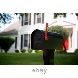 Post Mount Mailbox Ironside Grande Boîte À Lettres Galvanisée En Acier Lourd En Noir
