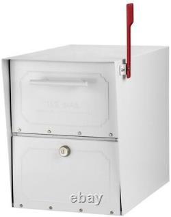 Post Mount Parcel Mailbox Classic Locking Steel With Heavy-duty Bracket, Blanc