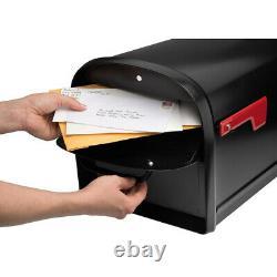 Post-mount Mailbox Black Galvanized Steel Us Mail Large Heavy-duty 2 Portes