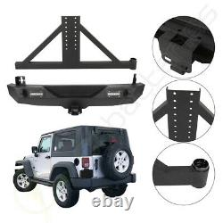 Pour 07-18 Jeep Wrangler Jk Acier Black Rear Bumper & Tire Carrier + Led Lights