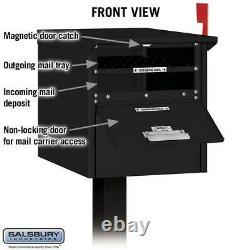 Roadside Mailbox Drapeau Post-mount Extra Gros Verrouillage En Aluminium Résistant Noir