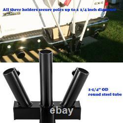 Universal Heavy Duty 3 Porte-place Drapeau Mont 2hitch Pour Camion Suv Remorque Jeep