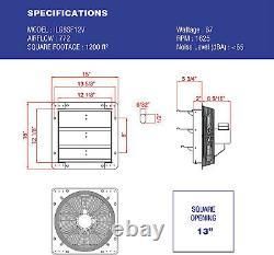 Ventilateur D'échappement D'obturateur Monté Par Mur 12 Vitesse Variable Galvanized Steel Heavy Duty